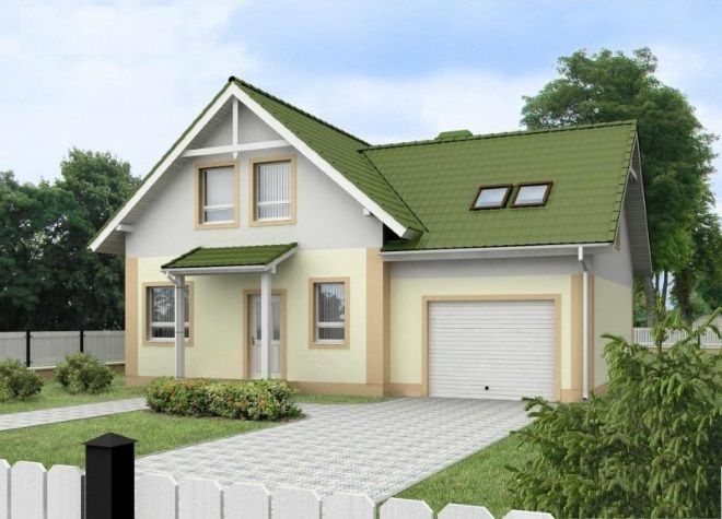 Индивидуальный проект дома с мансардой и гаражом