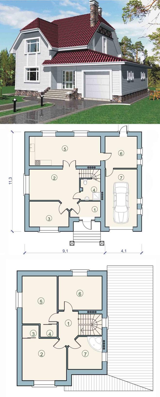 Вариант проекта одноэтажныго дома с мансардой и гаражом