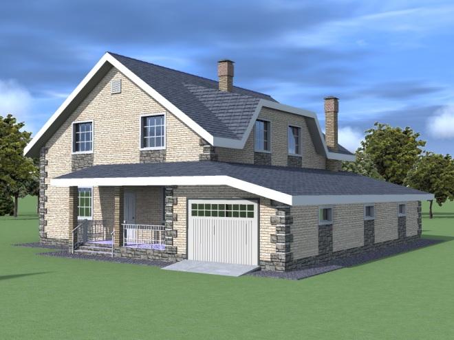 проект двухэтажного дама с гаражом