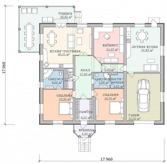 Проект одноэтажного дома с гаражом чертеж