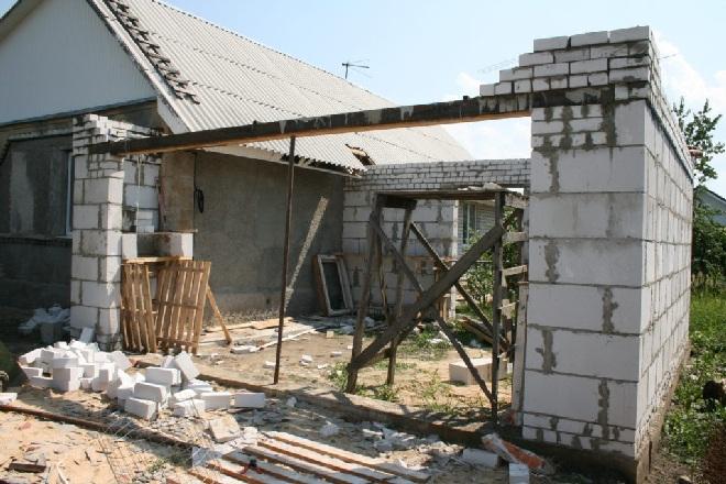 Пристройка гаража из бетонных блоков