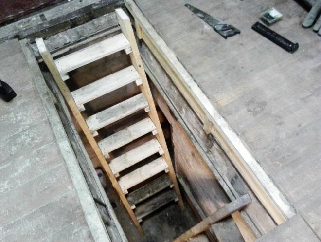лестница в подвал гаража своими руками