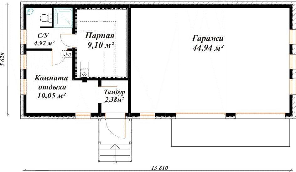 План гаража и бани под одной крышей