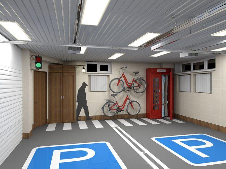 Отделка гаража в стиле перекрестка