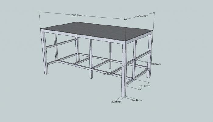 Чертеж металлического верстака в гараж
