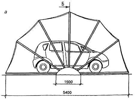 схематическое изображение гаража-ракушки