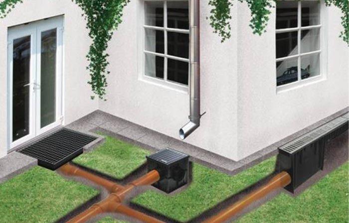 Пример водостока для бани