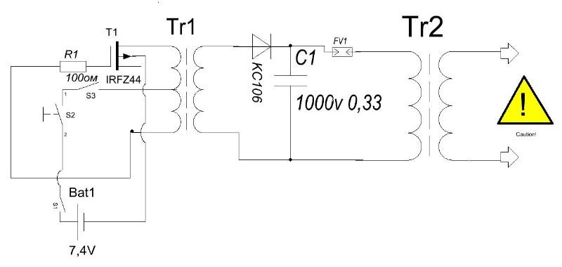 Электрическая схема электрошокера